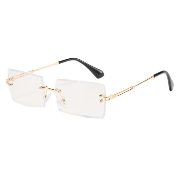 Blue Light Blocking Diamond Cut Rectangle Glasses - Gold