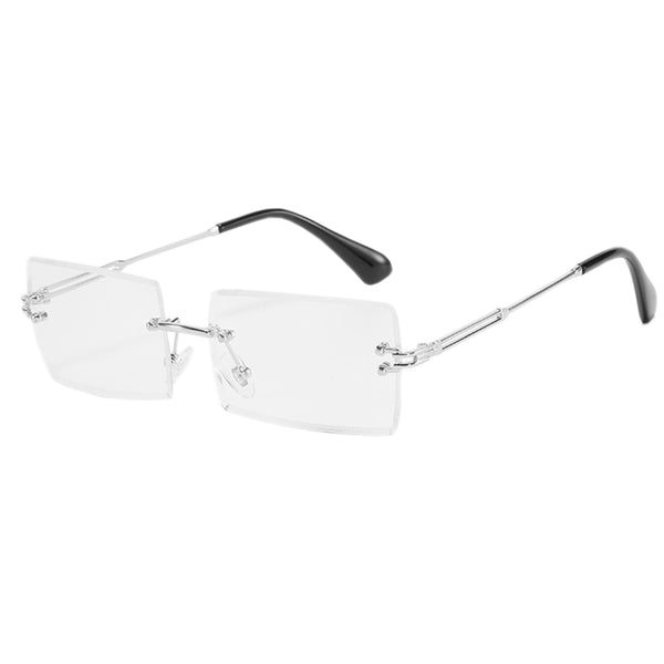 Blue Light Blocking Diamond Cut Rectangle Glasses - Silver