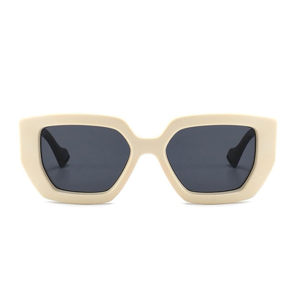 Chunky Hexagon Sunglasses - Cream/Black [PRE-ORDER]