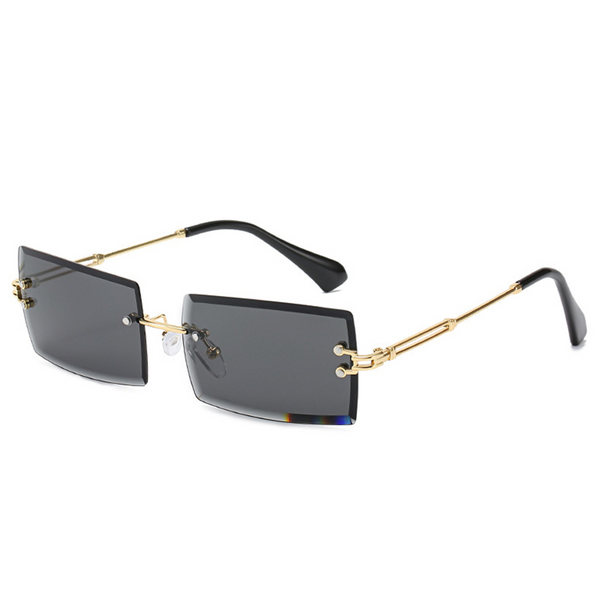 Diamond Cut Rectangle Frame Sunglasses - Black