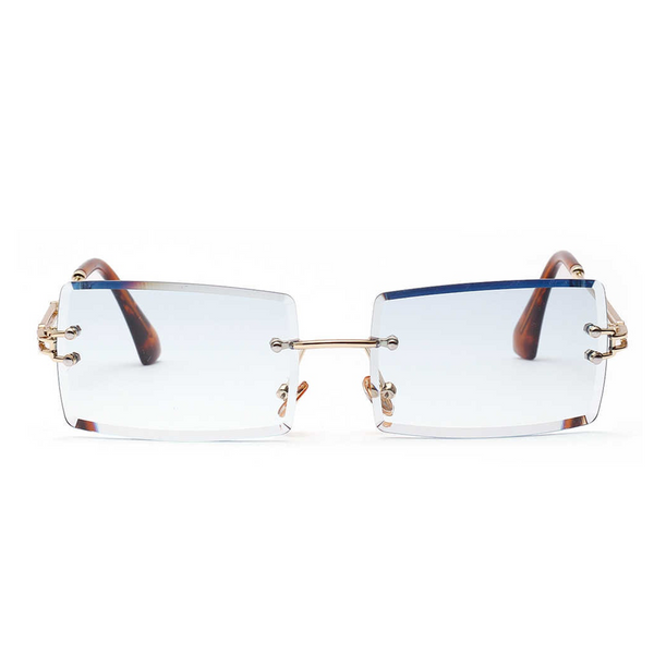 Diamond Cut Rectangle Frame Sunglasses - Blue [PRE-ORDER]