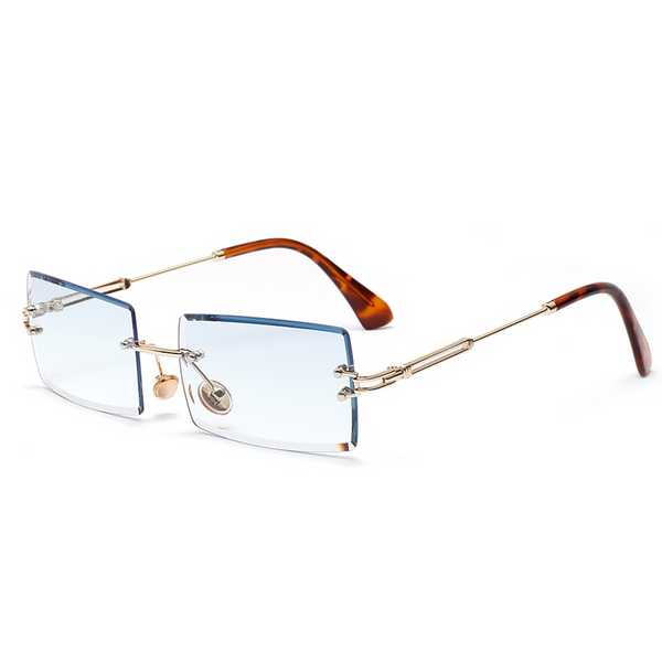 Diamond Cut Rectangle Frame Sunglasses - Blue