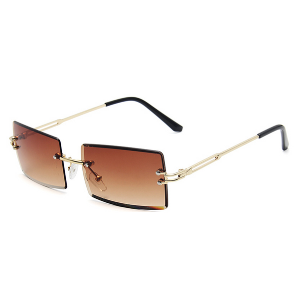 Diamond Cut Rectangle Frame Sunglasses - Brown