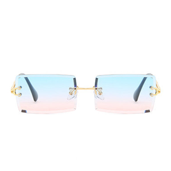 Diamond Cut Rectangle Frame Sunglasses - Candy Floss