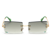 Diamond Cut Rectangle Frame Sunglasses - Green