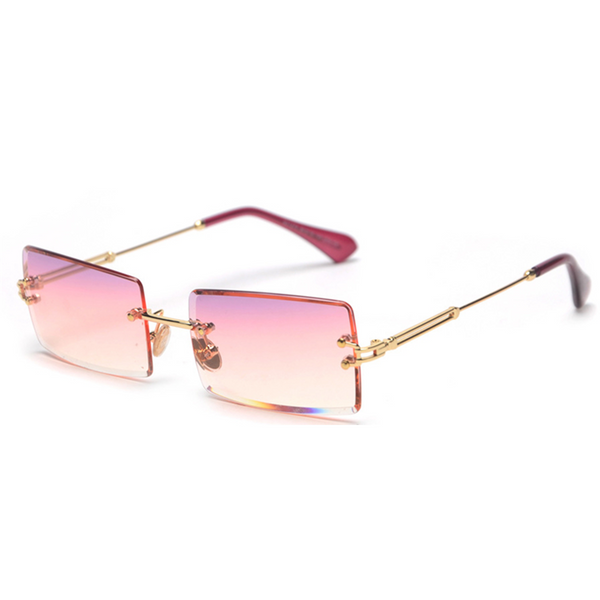 Diamond Cut Rectangle Frame Sunglasses - Light Pink