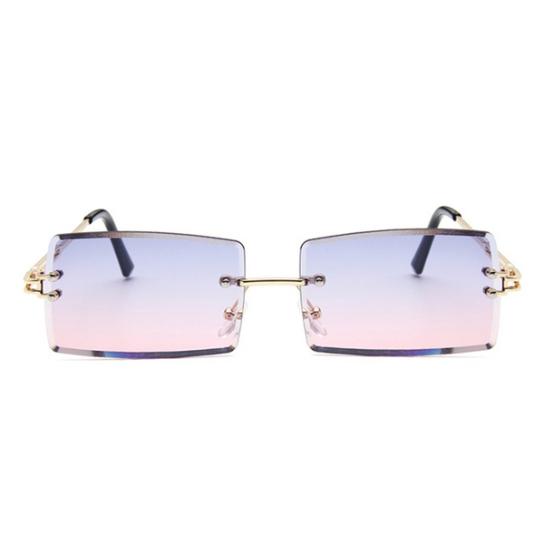 Diamond Cut Rectangle Frame Sunglasses - Purple/Pink Gradient