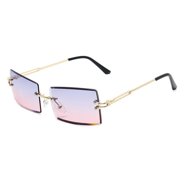 Diamond Cut Rectangle Frame Sunglasses - Purple/Pink Gradient [PRE-ORDER]
