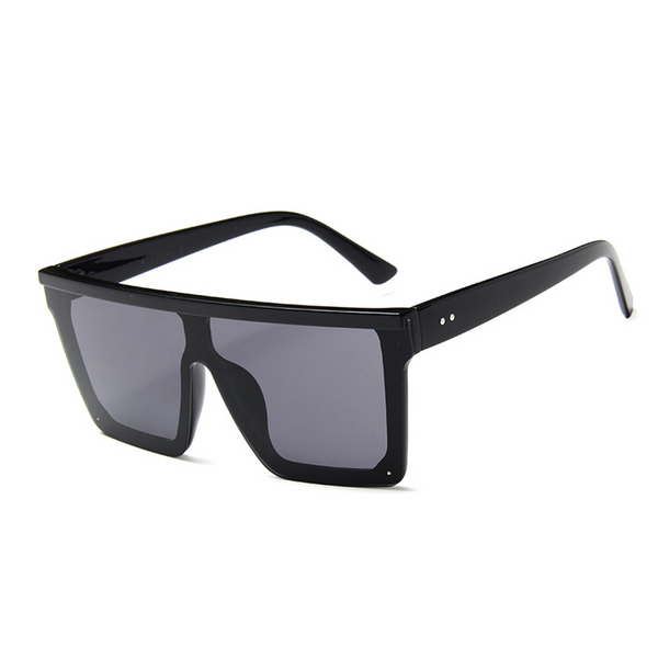 Flat Top Hindsight Oversized Square Sunglasses - Black
