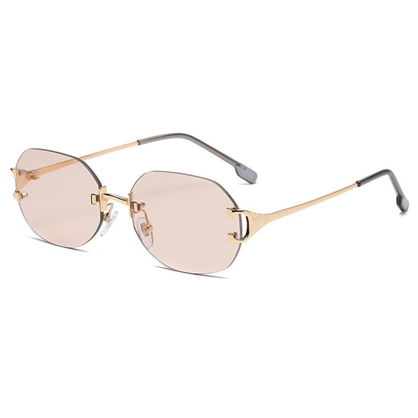 Large Round Rimless Sunglasses - Brown
