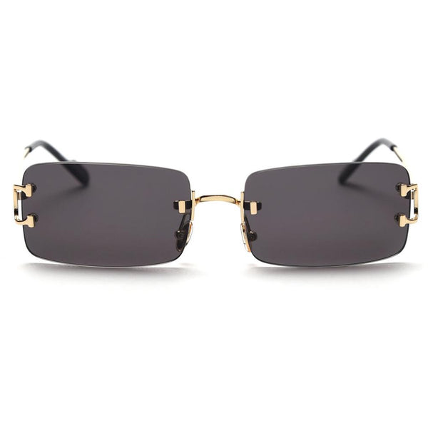 Large Square Rimless Sunglasses - Black