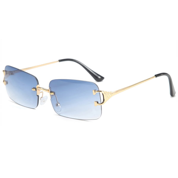 Large Square Rimless Sunglasses - Blue