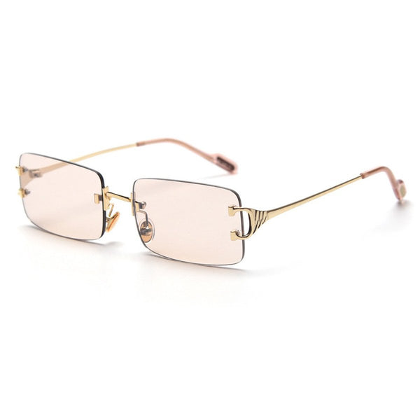 Large Square Rimless Sunglasses - Brown [PRE-ORDER]