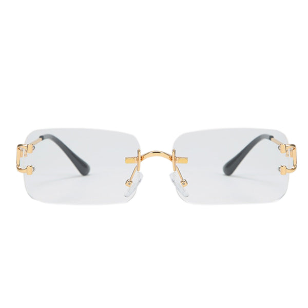 Large Square Rimless Sunglasses - Clear