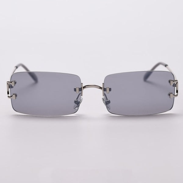 Large Square Rimless Sunglasses - Grey [PRE-ORDER]