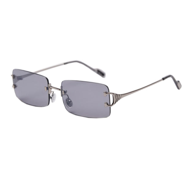 Large Square Rimless Sunglasses - Grey