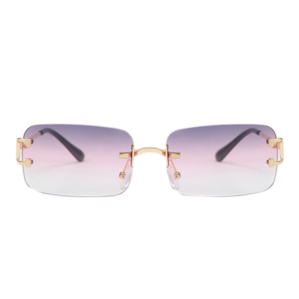 Large Square Rimless Sunglasses - Purple/Clear