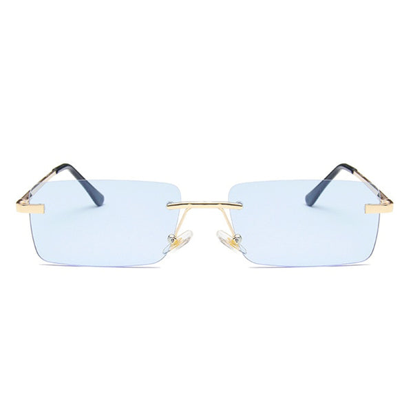 Medium Rimless Rectangle Sunglasses - Blue [PRE-ORDER]