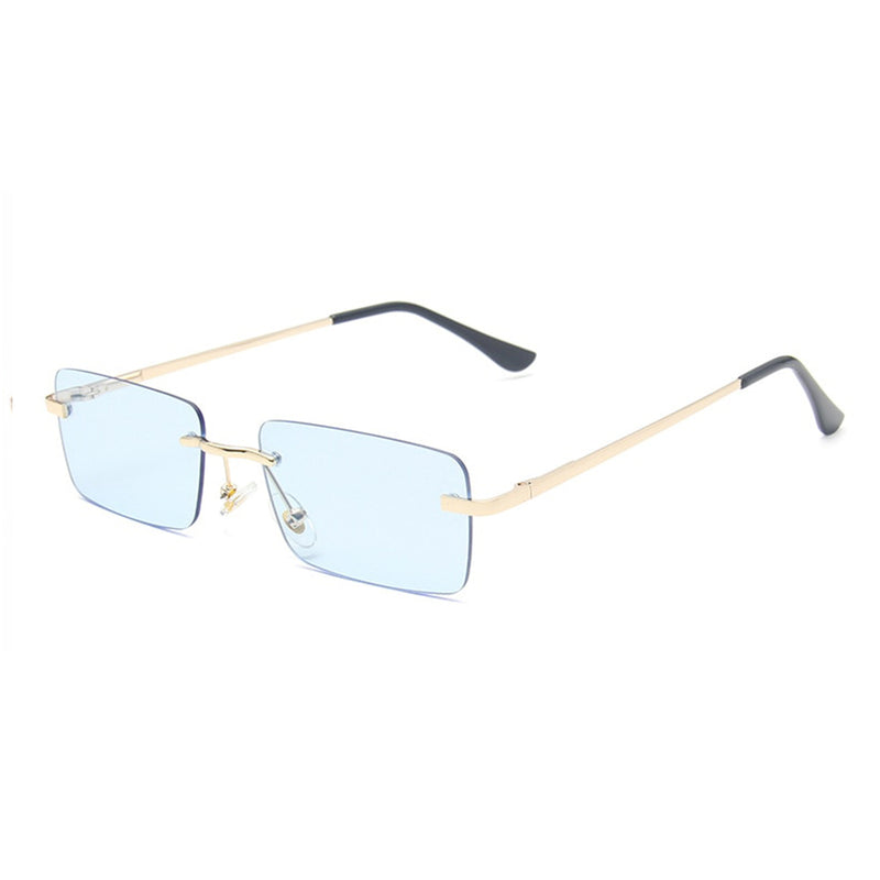 Medium Rimless Rectangle Sunglasses - Blue