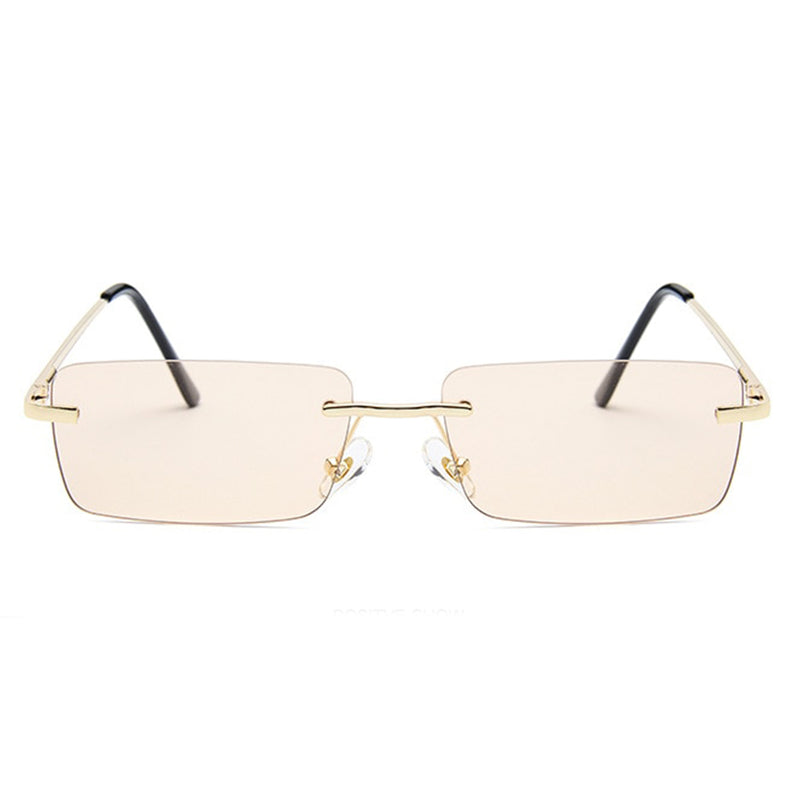 Medium Rimless Rectangle Sunglasses - Brown