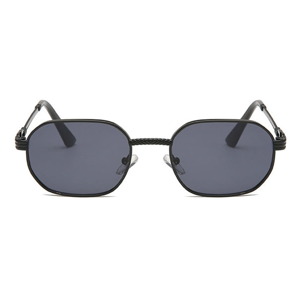 Small Metal Polygon Sunglasses - Black