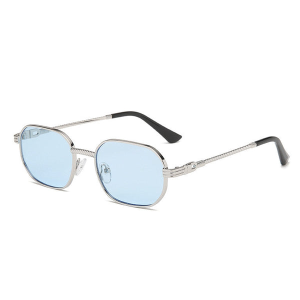 Small Metal Polygon Sunglasses - Blue