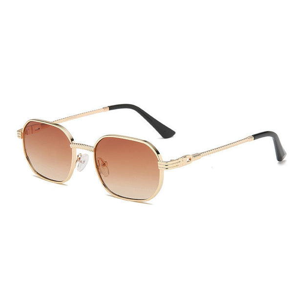 Small Metal Polygon Sunglasses - Brown