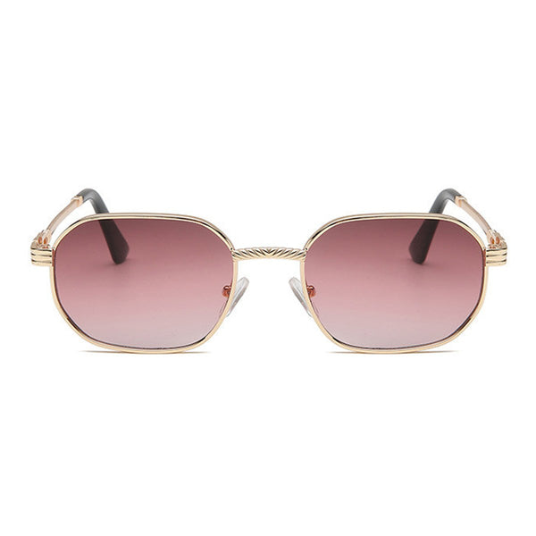 Small Metal Polygon Sunglasses - Brown/Pink Gradient