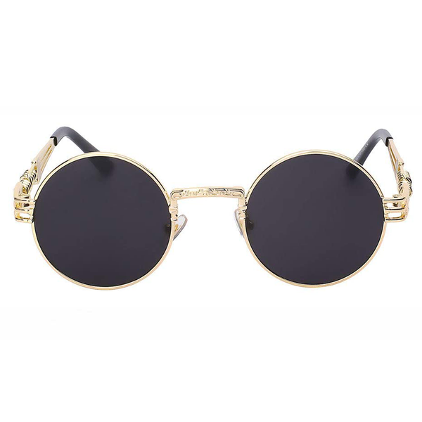 Steampunk Round Sunglasses - Black