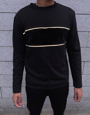 Velvet Panel And Reflective Stripe Jumper - Black