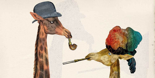 Long-necked animal couple with pipe and cigarette