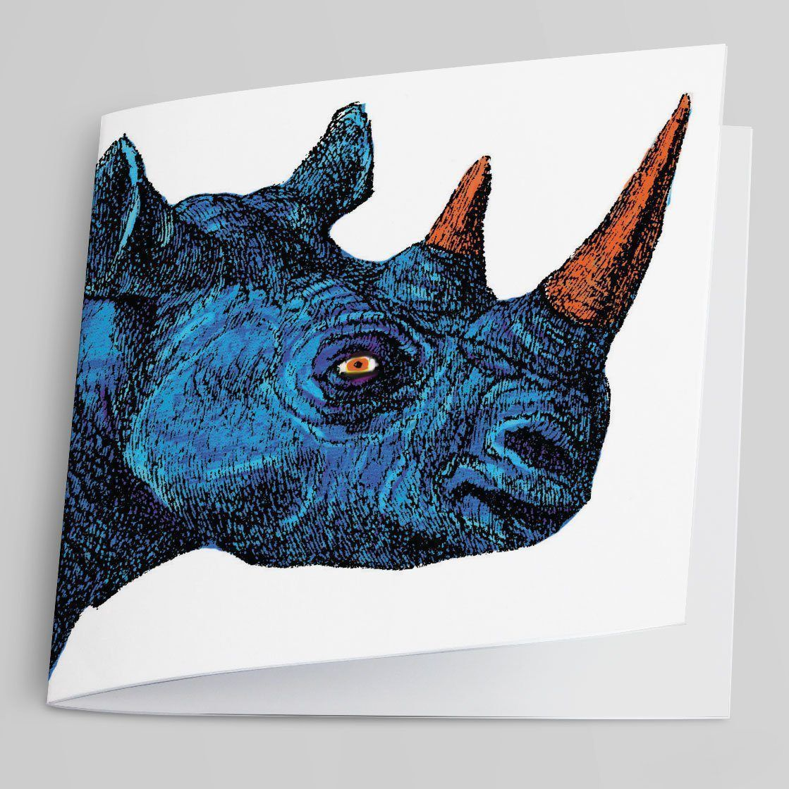 Rhinoceros greeting card rendered in blue and orange.
