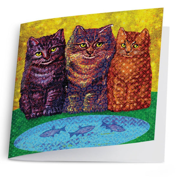 Three Shweshwe Kittens-Greeting Card-Tony Pinchuck-Tony Pinchuck