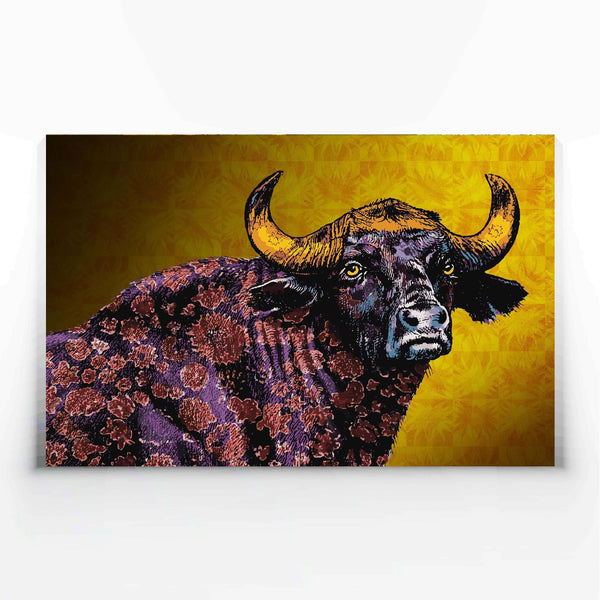 Floral Buffalo Canvas Print-Canvas Prints-Tony Pinchuck-Large (130 x 80 cm/ 52 x 32 in)-Tony Pinchuck