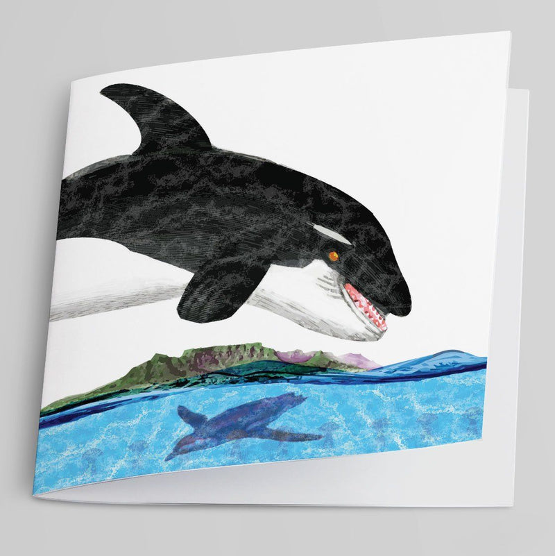 Leaping Orca Greeting Card-Greeting Card-Tony Pinchuck-Tony Pinchuck