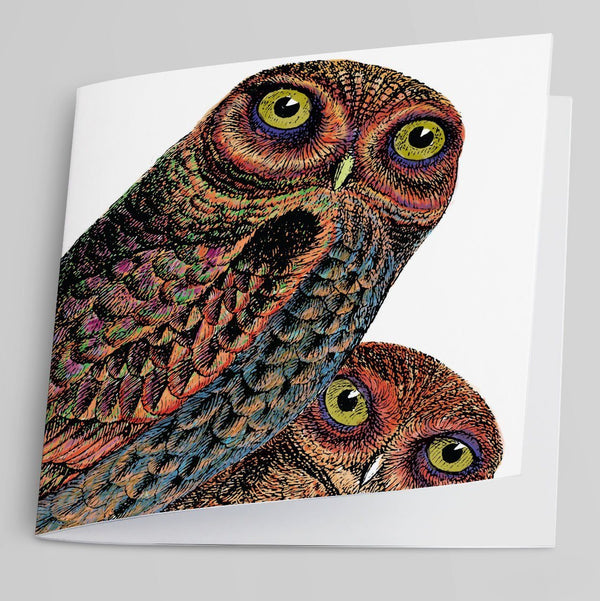 Owl Pair Greeting Card-Greeting Card-Tony Pinchuck-Tony Pinchuck