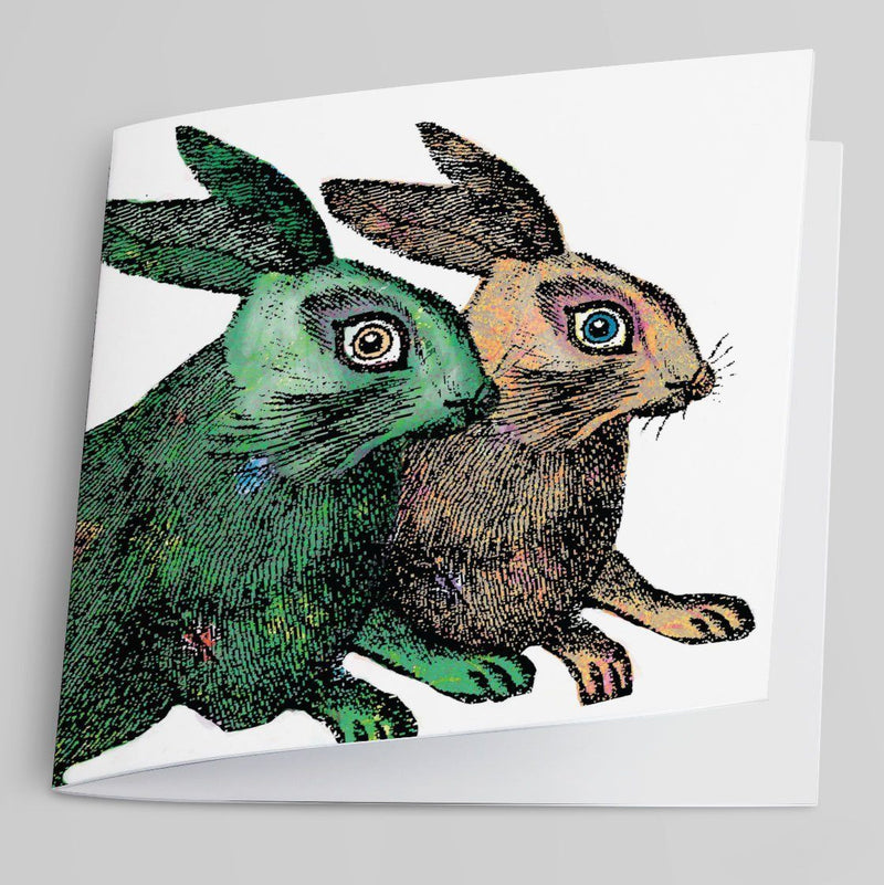Green and Brown Rabbits-Greeting Card-Tony Pinchuck-Tony Pinchuck