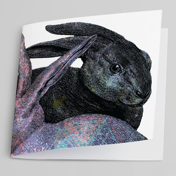 Pink and Blue Rabbit Greeting Card-Greeting Card-Tony Pinchuck-Tony Pinchuck