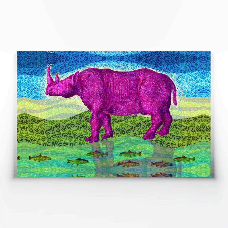 Magenta Rhino Canvas Print-Wall Art-Tony Pinchuck-Large (130 x 80 cm/ 52 x 32 in)-Tony Pinchuck