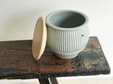 Fluted Celadon Bread Crock