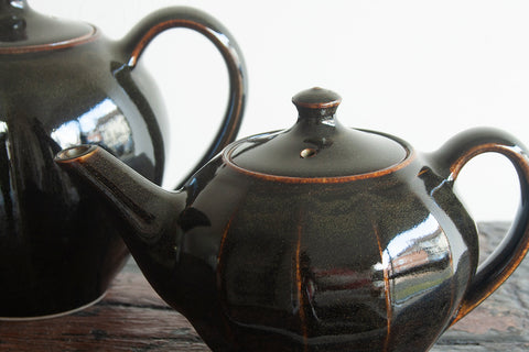 Faceted Tenmoku Teapots