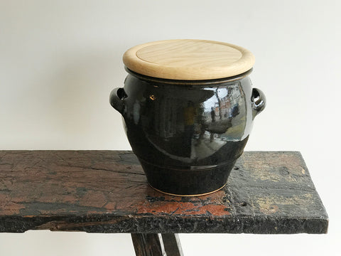 Large Bread Crock with Tenmoku glaze