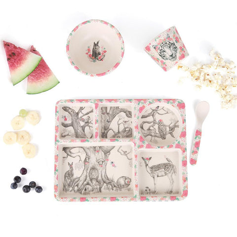 Love Mae 5 Piece Divided Plate Set Enchanted Forest