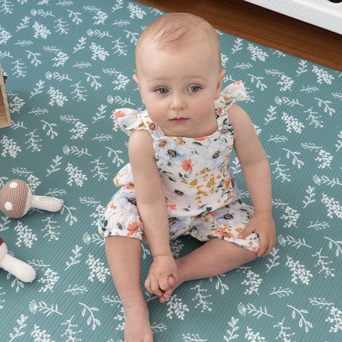 Munchkin & Bear Luxe Padded Playmat Large Botancials Emerald
