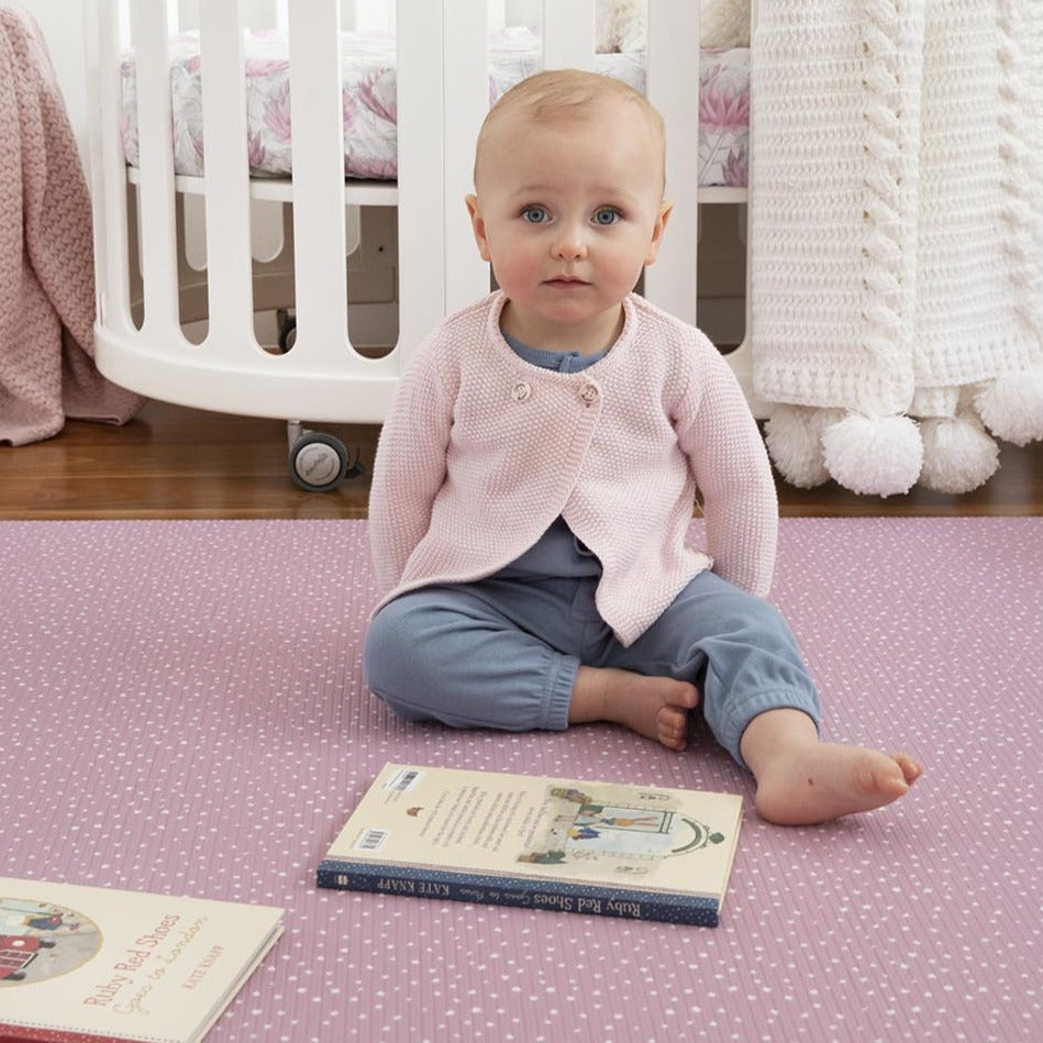 Munchkin & Bear Luxe Padded Playmat Large Speckled Dusty Pink