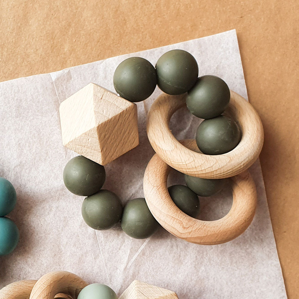 Dove & Dovelet Titan Silican Teether Olive