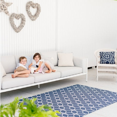 Munchkin & Bear Luxe Padded Playmat Large Hamptons Navy
