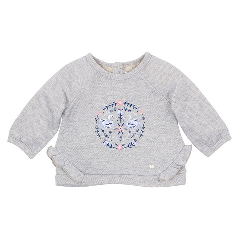 Bebe Viola Frill Embroidered Sweat