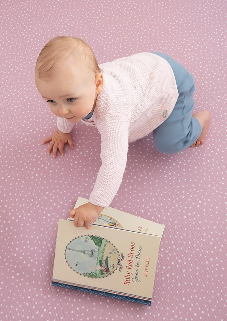 Munchkin & Bear Luxe Padded Round Playmat Speckled Dusty Pink
