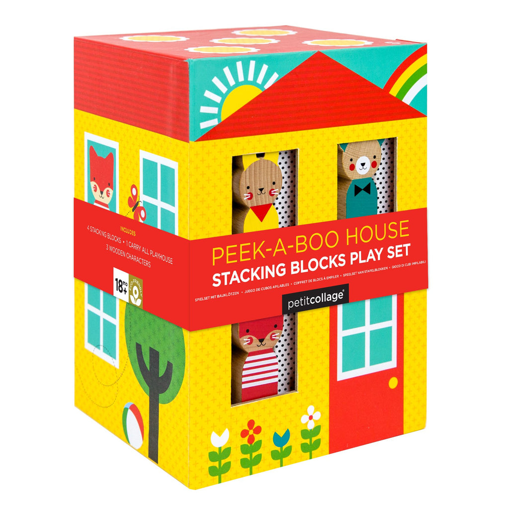Petit Collage Peek A Boo House Stacking Blocks